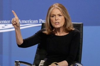 "WASHINGTON, DC - JUNE 23: American feminist, journalist and political activist Gloria Steinem participates in a panel discussion during the White House Summit On Working Families at the Omni Shoreham hotel June 23, 2014 in Washington, DC. Organized by the White House, the Labor Department and the Center for American Progress, the summit explored ideas like paid sick, maternity leave and universal preschool. President Obama on Monday ordered federal departments and agencies ""to expand flexible workplace policies to the maximum extent possible,"" with an eye toward improving flexibility for parents. (Photo by Chip Somodevilla/Getty Images)"